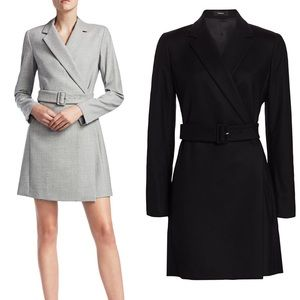 NEW theory belted blazer dress black